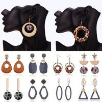 Boho Geometric Round Leopard Print Ear Stud Dangle Hook Earrings Charm Jewellery