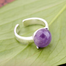 New Noble Women Fashion Opening Round White Gold Plated Amethyst Jade Ring