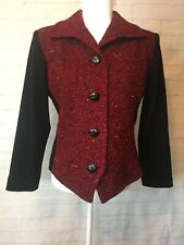 Vintage Saint Laurent YSL Rive Gauche Red Black Wool Jacket Euro Size 42 US 10