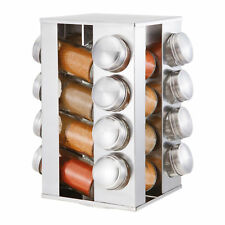 16 Piece Stainless Steel Kitchen Revolving Rotating Spice Rack Set & Glass Jars