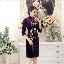 New purple Chinese women's embroidery velvet evening mini Dress/Cheong-sam m-4xl