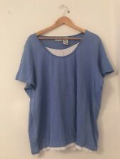 Ladies Top Blue White Stag Size 24 Short Sleeve Casual <JJ3386