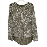 Lucky Brand Top Womens Size Large Boho Peasant Blouse Olive Green Floral