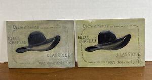 2 Vintage Hat Tiles With Quotes Trivet/Wall/Tile Art ~Classique ~ Belle Chapeau