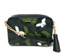 Michael Kors Medium Camera Bag Leather Crossbody Butterfly Black Handbag Clutch