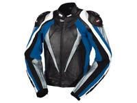 iXS Lederjacke Corbin | Schwarz-Blau-Weiß | Motorradjacke aus Rindsleder