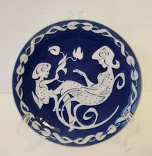1973 Cobalt Blue Royal Copenhagen Denmark Mors Dag Mothers Day Hanging Plate