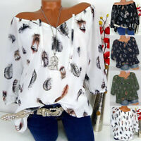 Women Plus Size Half Sleeve Feather Print V-neck Blouse Pullover Top Shirt Loose
