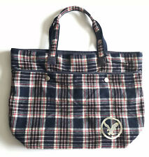American Eagle AEO Travel Tote Bag Blue Plaid  Double Handle Magnetic Closure