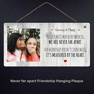 Friendship Personalised Hanging Plaque Friends Metal Sign Gift Cute Heart Love