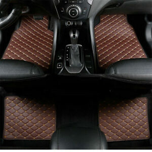 4pcs/set Coffee PU Leather Car Floor Mats Waterproof Non-slip Carpets Protector