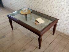 Tavolino da salotto, in legno e vetro, stile vintage classico. In legno e vetro