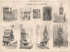 Examples of the Baldacchino. Decorative 1873 old antique vintage print picture