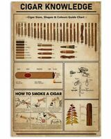 Canvas CIGAR KNOWLEDGE NEW VERSION Poster No Frame Home Wall Decor Funny Poster