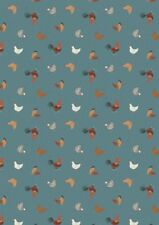 Small Things Farm Chickens Hens Teal Cotton Quilting Sewing Fabric