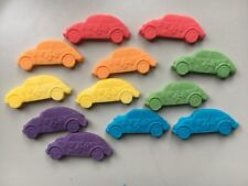 Edible fondant icing  cars - cake topper, red and blue x 12