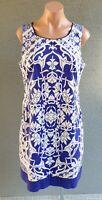 💜 BASQUE Cotton Sleeveless Shift Dress Blue White Size 14 Buy7=FreePost L833