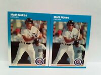 Matt Nokes Uncirculated ROOKIE 1987 Fleer Glossy + Matching Fleer