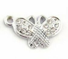10 Cute Butterfly Crystal Rhinestone Silver Plated Charm/Pandent/Bead/Craft K131