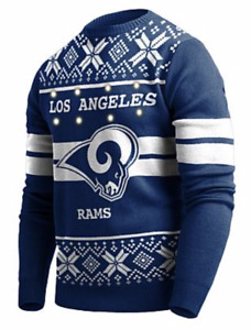 Los Angeles RAMS MENS NFL FOCO LIGHT-UP UGLY SWEATER, Run Larger: NWT