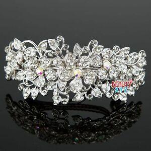 New Woman's Flower silver plated metal rhinestone wedding hair clip Barrette