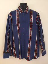 Wrancher by Wrangler Western Shirt Mens Blue Aztec Stripe Pearl Snap Button XL