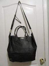 Sam & Libby tote bag beach overnight bag Purse Black faux snakeskin XL fringes