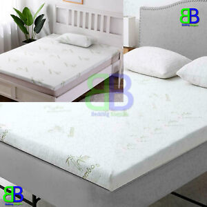 2, 1 inch Bamboo Memory Foam Mattress Topper Thick Zipped Cover All UK Bed Sizes
