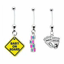 Pregnancy Belly Ring 3-pack BABY ON BOARD + BLOCKS + FEET 14g Pierced Jewelry