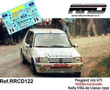 DECAL/CALCA 1/43; Peugeot 205 GTI; Vallejo-Cerecedo; Rally Villa de Llanes 1990