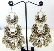 Indian Traditional Bollywood Silver Oxidized Mugal Jhumka Jhumki Long Earrings31