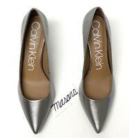 Women Calvin Klein Gayle Pointed Toe Pump Leather Metal Birch MSRP $109
