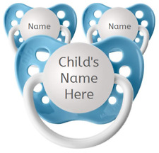 Baby Blue Personalized Pacifiers - Set of 3 Binkies - Name Soothers - Ulubulu