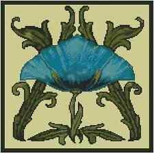 Art Déco Flor Azul Punto de Cruz Kit Completo No.14-149