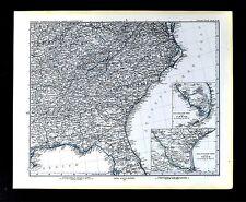 1880 Stieler Map United States South Florida Georgia Alabama Carolina Tennessee