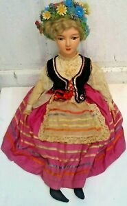 """VINTAGE COMPOSITION DOLL, FLOWER HEADBAND, REAL HAIR? 26"""" TALL, LACE RUFFLED TOP"""