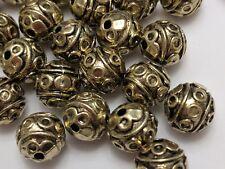Round Tibetan Style Alloy Beads, Cadmium Free & Lead Free, Antique Golden, 8 mm,