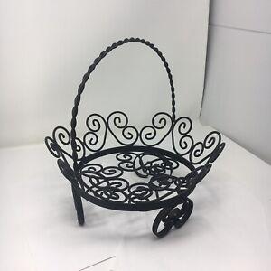 "Wrought Iron Metal Ornate Bowl Basket Decorative Fruit Kitchen  Centerpiece 11"""
