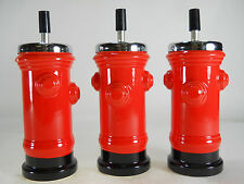 "BLEMISHED 3 pc LOT 7 1/2"" Tall RED Ceramic Fire Hydrant spin top ASHTRAY"