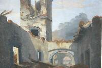 Aquarell einer Ruine die Brennt vom Künstler Monogrammiert W K oder W H