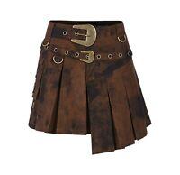 Punk Rave Steampunk Brown Irregular Hem Mottled Half Skirt cosplay gothic
