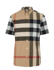 Authentic Burberry Check Windsor Camel Short-Sleeve Button-up Shirt Size XXL NWT