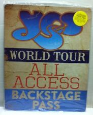"""12"""" X 15"""" Tin Sign Yes World Tour All Access Backstage Pass Metal Sign New"""