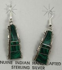 Navajo Indian Earrings Malachite Inlay Dangle Sterling Silver Steve Francisco