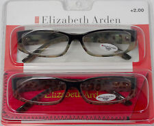 Elizabeth Arden Reading Glass 2 Pack Rectangle Khaki Blk Leopard Plastic 2. #2