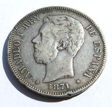 5 PTAS PESETAS 1871 900 SILBER SILVER PLATA MÜNZE SPANIEN AMADEO 1 REY DE ESPANA