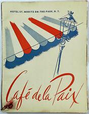 1955 Vtg Menu Cafe De La Paix HOTEL ST. MORITZ On The Park New York Central Park
