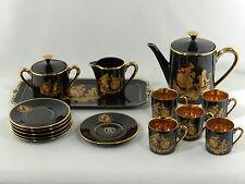 "France ""B"" Black & Gold Victorian Man & Lady TEA SET - 15 Piece Set"