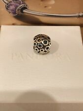 NWOT AuthRetired Pandora ALES925 Silver & 14k Gold Oh!-Circles Charm 790325 w/