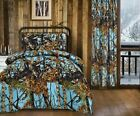 9 pc Powder Blue Camo Woods Twin Comforter and microfiber sheets curtains